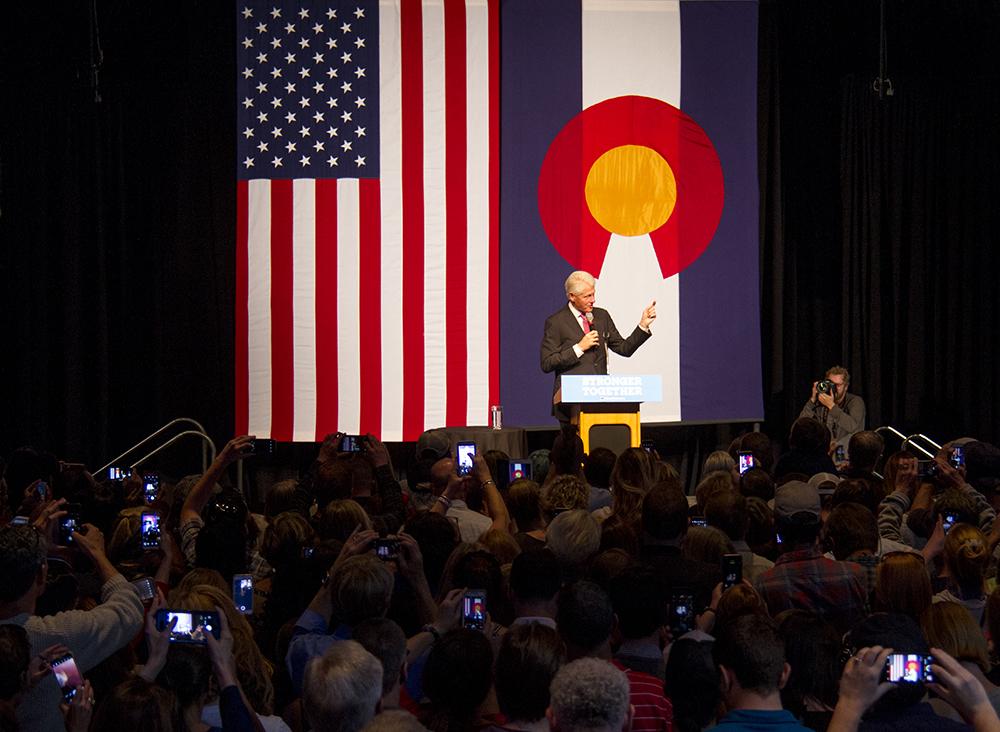 Bill Clinton speaks at a rally at EXDO. (Kevin J. Beaty/Denverite)  bill clinton; copolitics; denver; colorado; denverite; kevinjbeaty; politics; election; campaign;