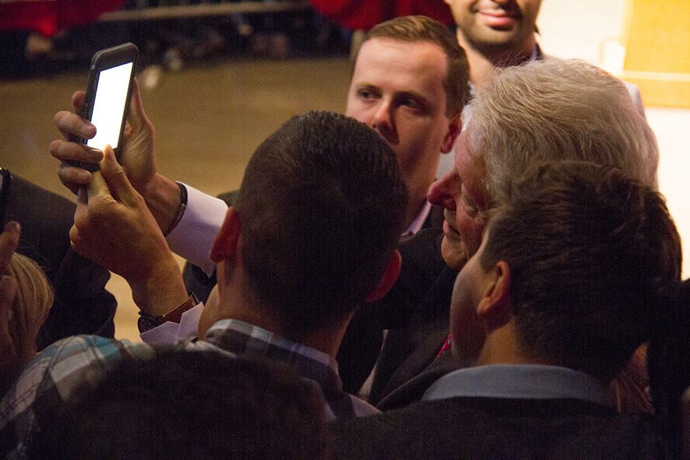 Bill Clinton takes a selfie with a Hillary supporter's phone after a rally at EXDO. (Kevin J. Beaty/Denverite)  bill clinton; copolitics; denver; colorado; denverite; kevinjbeaty; politics; election; campaign;