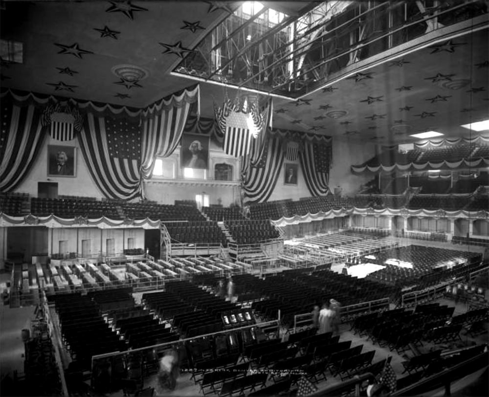 Interior view of City Auditorium on 15th (Fifteenth) between Curtis and Champa Streets, Denver, Colorado; soon after completion in 1908 being readied for Democratic National Convention in July, 1908. (Louis Charles McClure/Denver Public Library/Western History Collection/MCC-1227)  historic; denver public library; dpl; archive; archival; denverite