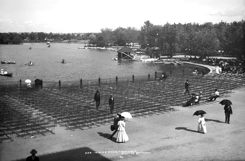 City Park Lake and rows of wrought iron benches in City Park, Denver, Colorado. Between 1900 and 1910. (Louis Charles McClure/Denver Public Library/Western History Collection/MCC-938)  historic; denver public library; dpl; archive; archival; denverite