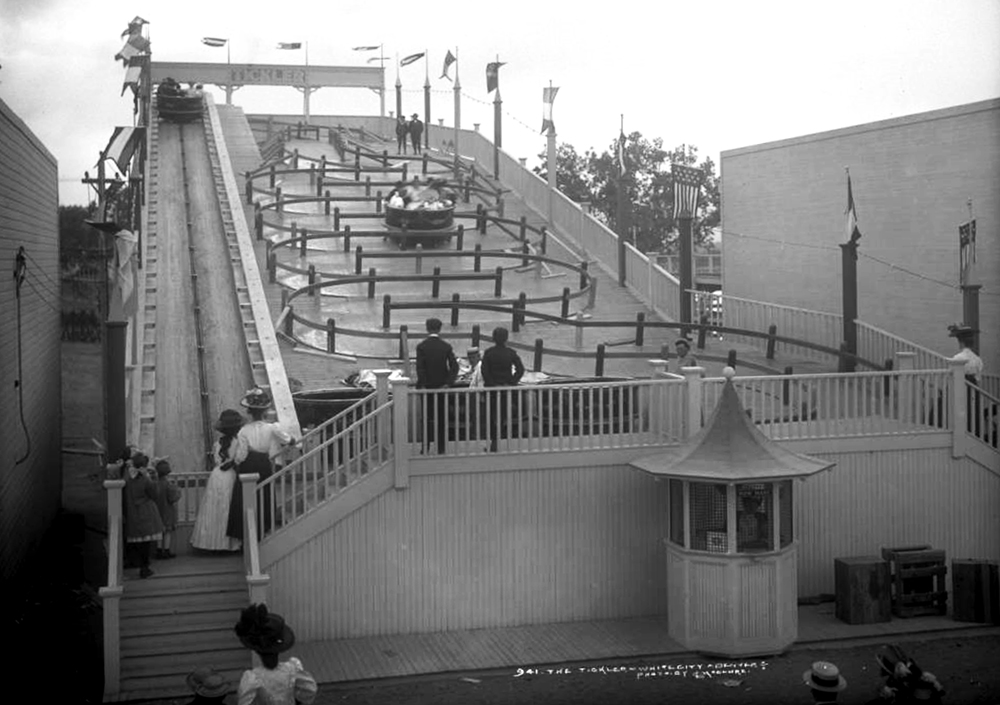 "View of a ride called the Tickler, ""White City"" (later called Lakeside Amusement Park), Lakeside, Colorado, near Denver. Between 1908 and 1910. (Louis Charles McClure/Denver Public Library/Western History Collection/MCC-941)  historic; denver public library; dpl; archive; archival; denverite"