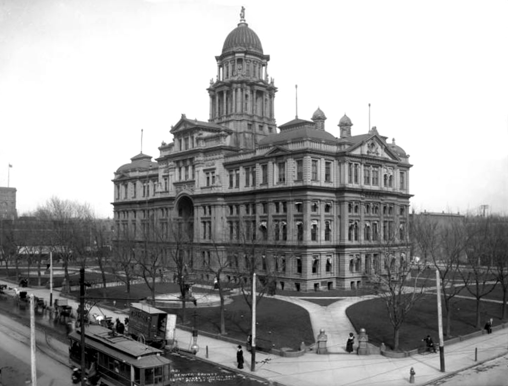 Exterior view of Denver (Arapahoe) County Court House built in 1883, located on the block between 15th, 16th and Tremont Streets and Court Place; Denver was part of Arapahoe County until 1904; building was razed in 1934. Between 1890 and 1910. (Louis Charles McClure/Denver Public Library/Western History Collection/MCC-40)  historic; denver public library; dpl; archive; archival; denverite