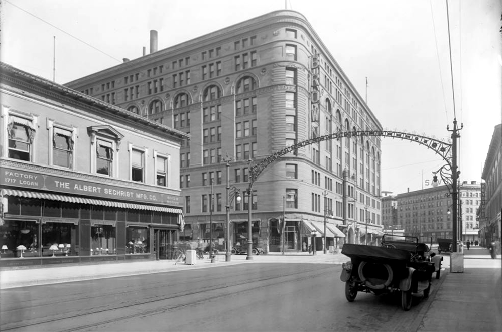 The Brown Hotel in 1916, a few years before the cultists thought it would be theirs. (Louis Charles McClure/Denver Public Library/Western History Collection/MCC-3278)  historic; denver public library; dpl; archive; archival; denverite