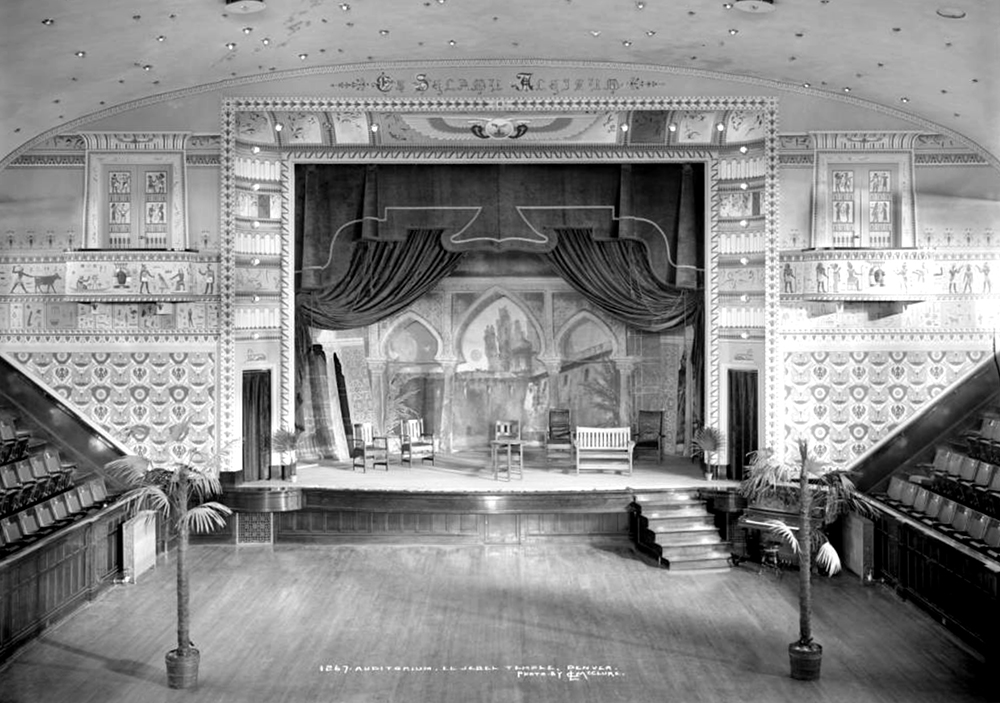 Interior view of El Jebel Temple, local Masonic order of El Jebel Shriners. Circa 1910. (Louis Charles McClure/Denver Public Library/Western History Collection/MCC-1267)  historic; denver public library; dpl; archive; archival; denverite