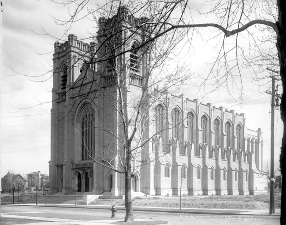 Exterior view of St. John's Cathedral (also known as Saint John's Church in the Wilderness and Cathedral of Saint John the Evangelist), 14th and Clarkson. Between 1911 and 1920. (Louis Charles McClure/Denver Public Library/Western History Collection/MCC-2031)  historic; denver public library; dpl; archive; archival; denverite