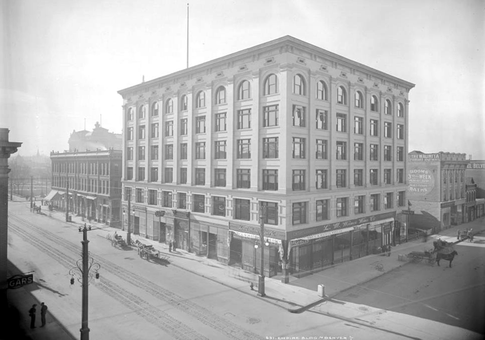 Exterior view Empire Building, 16th (Sixteenth) and Glenarm, Denver, Colorado, completed in 1907. Between 1907 and 1913. (Louis Charles McClure/Denver Public Library/Western History Collection/MCC-631)