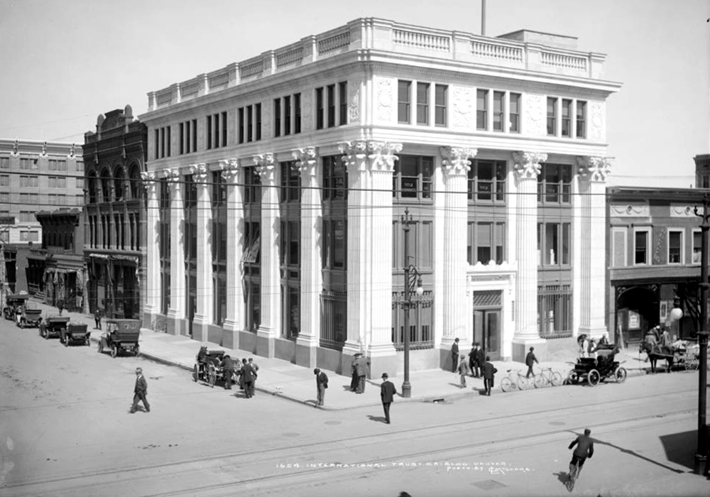 Exterior view of International Trust Company building (17th & corner of California). Between 1912 and 1920. (Louis Charles McClure/Denver Public Library/Western History Collection/MCC-1654)  historic; denver public library; dpl; archive; archival; denverite