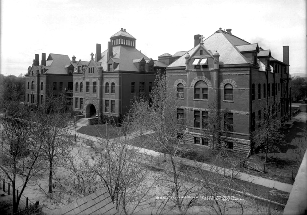 Exterior view of Saint Luke's Hospital, 19th (nineteenth) and Pearl, Denver, Colorado; constructed in 1891 at cost of almost $100,000 by the Episcopal Church. Between 1891 and 1910. (Louis Charles McClure/Denver Public Library/Western History Collection/MCC-825)  historic; denver public library; dpl; archive; archival; denverite