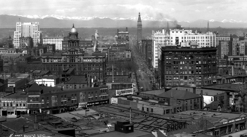 Northwest view of downtown Denver, Colorado, taken from dome of State Capitol Building. Between 1929 and 1933. (Louis Charles McClure/Denver Public Library/Western History Collection/MCC-3057)  historic; denver public library; dpl; archive; archival; denverite