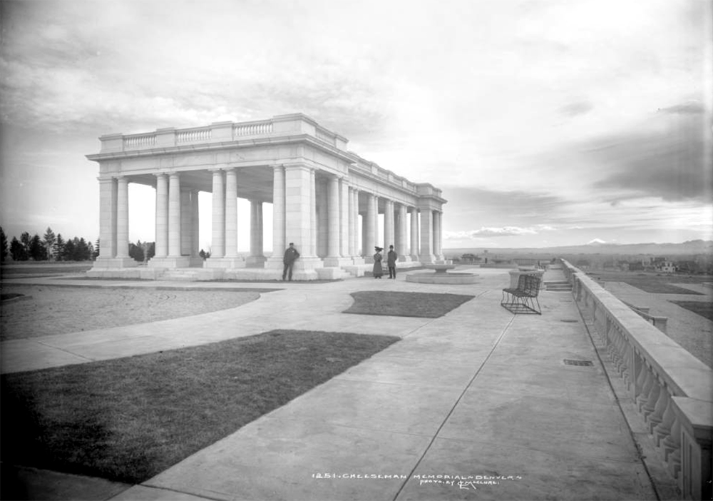 Exterior view of Cheesman Memorial Pavilion, Cheesman Park (formerly Congress Park), Denver, Colorado; designed by Marean & Norton firm (Willis A. Marean & Albert J. Norton), completed in 1909 as memorial to Walter Scott Cheesman using Colorado Yule marble. Circa 1910. (Louis Charles McClure/Denver Public Library/Western History Collection/MCC-1251)  historic; denver public library; dpl; archive; archival; denverite