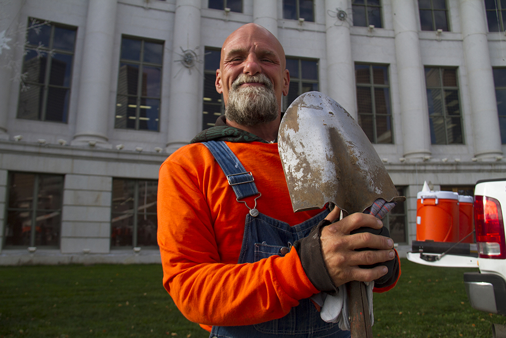 Danny Tims Jr., who has lived in Civic Center Park for the last month and was hired by Denver Day Works yesterday. (Kevin J. Beaty/Denverite)  homeless; day labor; social work; kevinjbeaty; denverite; denver; colorado; kevinjbeaty;