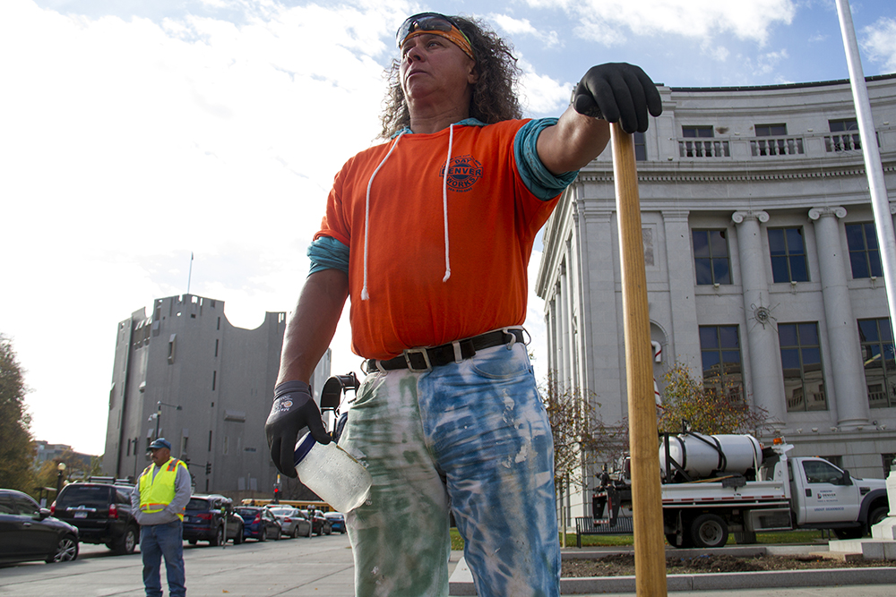 Victor Martin Pacheco stands with a shovel at the launch of Denver Day Works. (Kevin J. Beaty/Denverite)  homeless; day labor; social work; kevinjbeaty; denverite; denver; colorado; kevinjbeaty;
