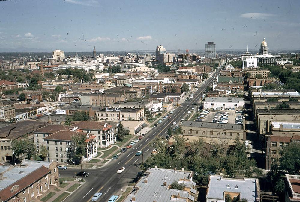 Aerial view of Lincoln Avenue in Denver, Colorado. Between 1950 and 1955. (Lloyd Rule/Denver Public Library/Western History Collection/Z-11804)  history colorado; historic; denver public library; dpl; archive; archival; denverite