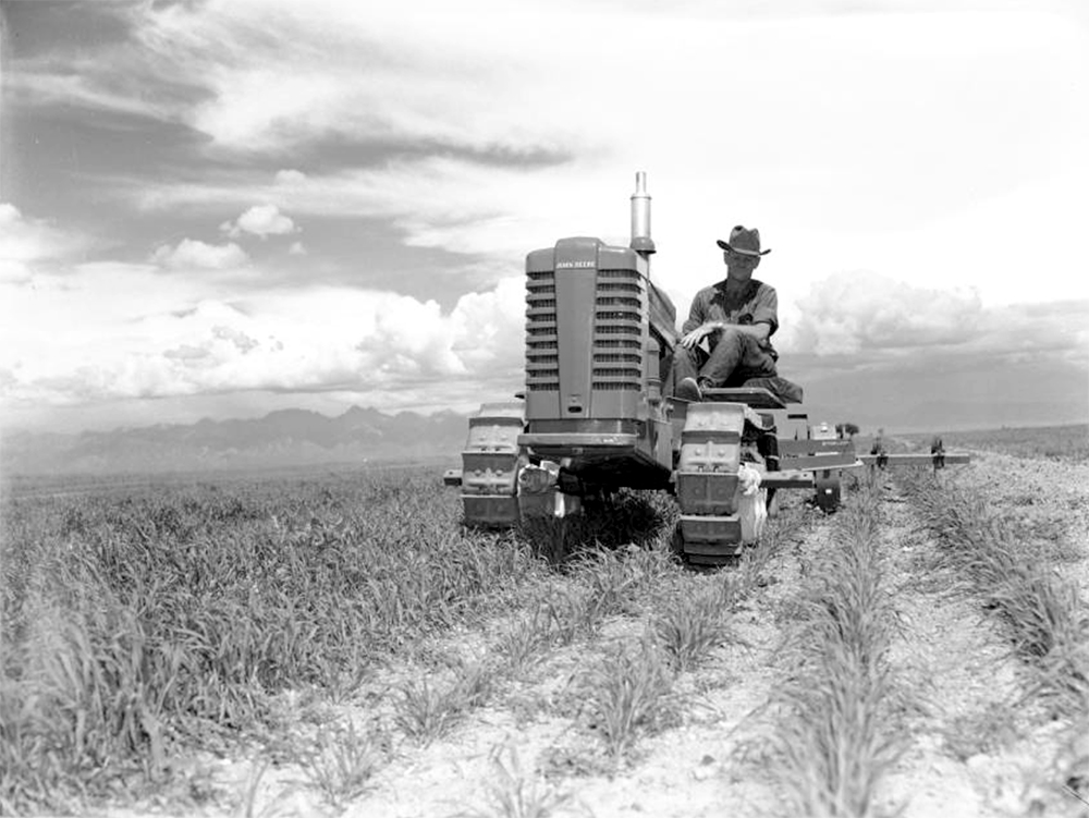 "A man rides a ""John Deere"" tracklayer tractor in a Colorado field. Between 1940 and 1950. (Lloyd Rule/Denver Public Library/Western History Collection/Z-10211)  history colorado; historic; denver public library; dpl; archive; archival; denverite"