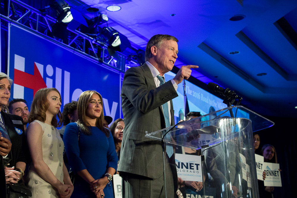 Governor Hickenlooper speaks on Election Night 2016 at the downtown Denver Westin. (Chloe Aiello/Denverite)