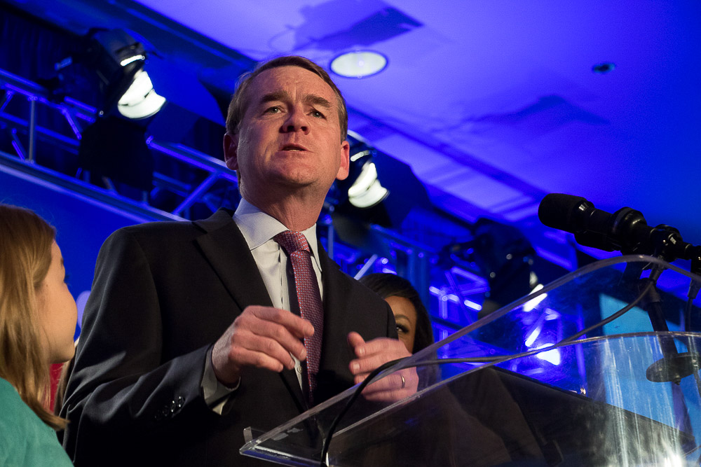 Senator Michael Bennet on Election Night 2016 at the downtown Denver Westin. (Chloe Aiello/Denverite)
