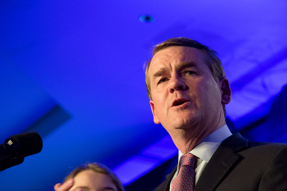 Michael Bennet on Election Night 2016 at the downtown Denver Westin. (Chloe Aiello/Denverite)
