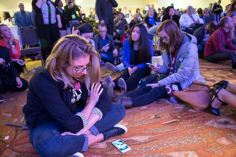 General feelings at Democratic Watch Party on Election Night 2016 at the downtown Denver Westin. (Chloe Aiello/Denverite)