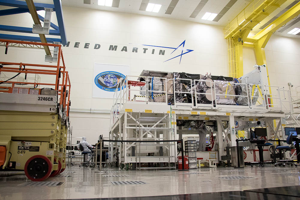 GOES-S weather satellite at Lockheed Martin's centennial facility. (Chloe Aiello/Denverite)