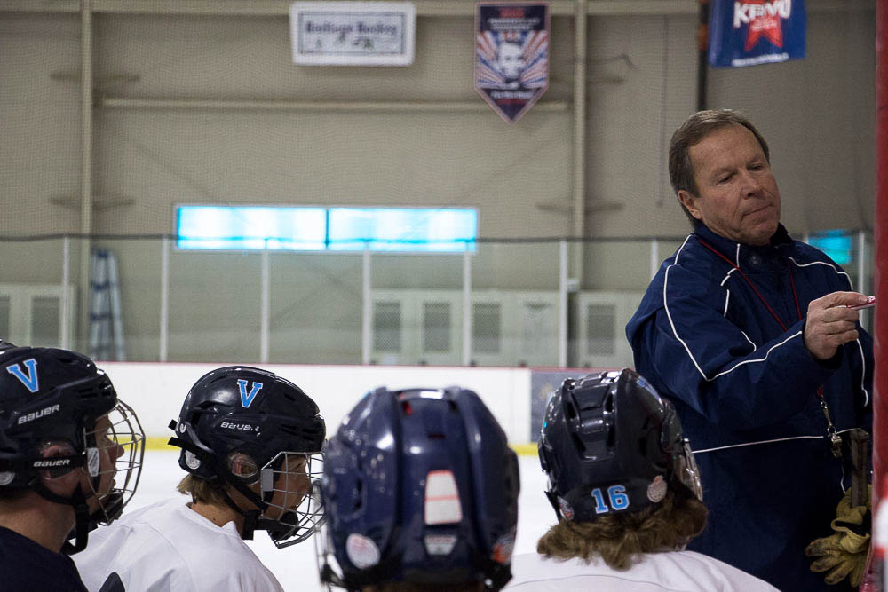 Goerge Gwozdecky now coaches Valor's hockey team. (Chloe Aiello/Denverite)