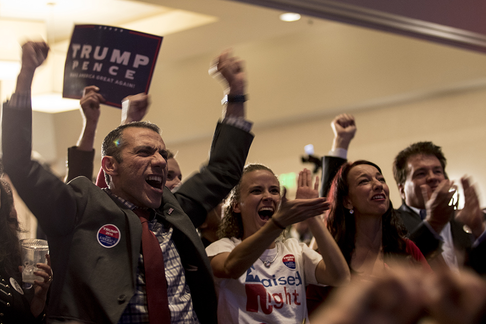 Donald Trump supporters cheer during the 2016 GOP Watch Party at Doubletree Denver Tech Center in Greenwood Village on Nov 8, 2016. (Jessica Taves/For Denverite)  election; vote; colorado; republicans; campaign; jessica taves; denverite; denverite;