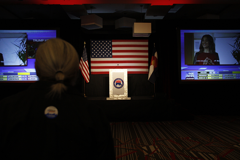 2016 GOP watch party at the Double Tree Hotel in Greenwood Village on Nov. 8, 2016. (Jessica Taves/For Denverite)