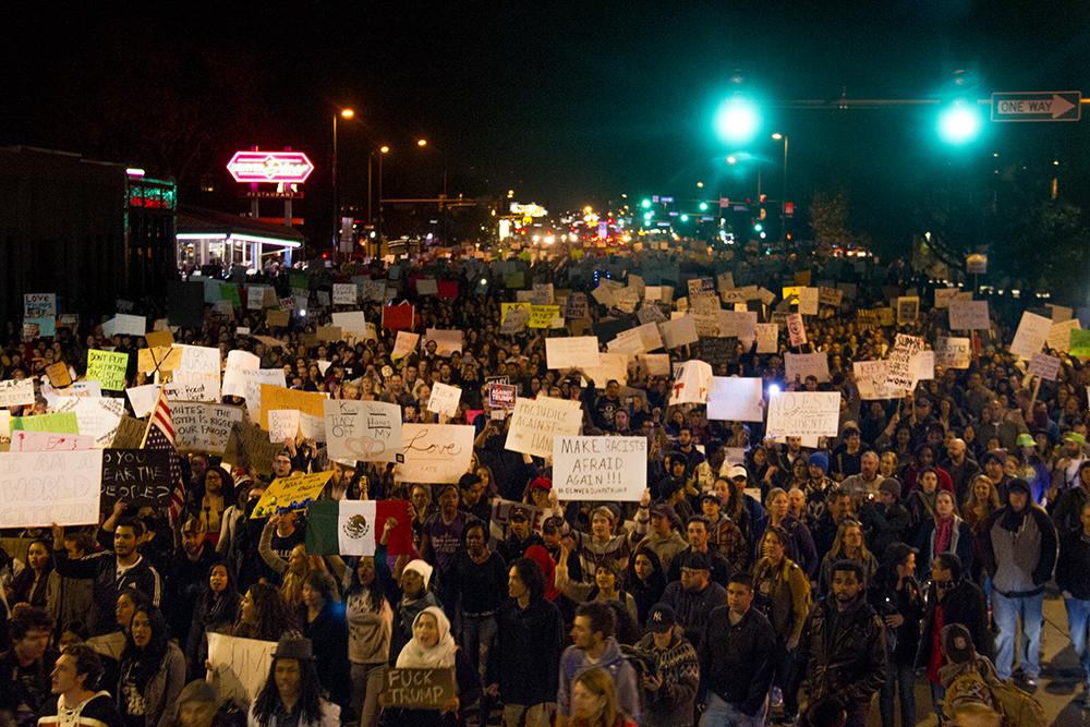 Protesters fill Colfax at Speer. An anti-Trump rally. Nov. 11, 2016. (Kevin J. Beaty/Denverite)  politics; protest; denver; denverite; kevinjbeaty; colorado; trump;