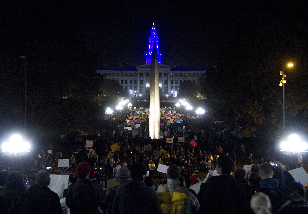 Protesters fill Civic Center Park from the City and County Building all the way to the Capitol. An anti-Trump rally. Nov. 11, 2016. (Kevin J. Beaty/Denverite)  politics; protest; denver; denverite; kevinjbeaty; colorado; trump;