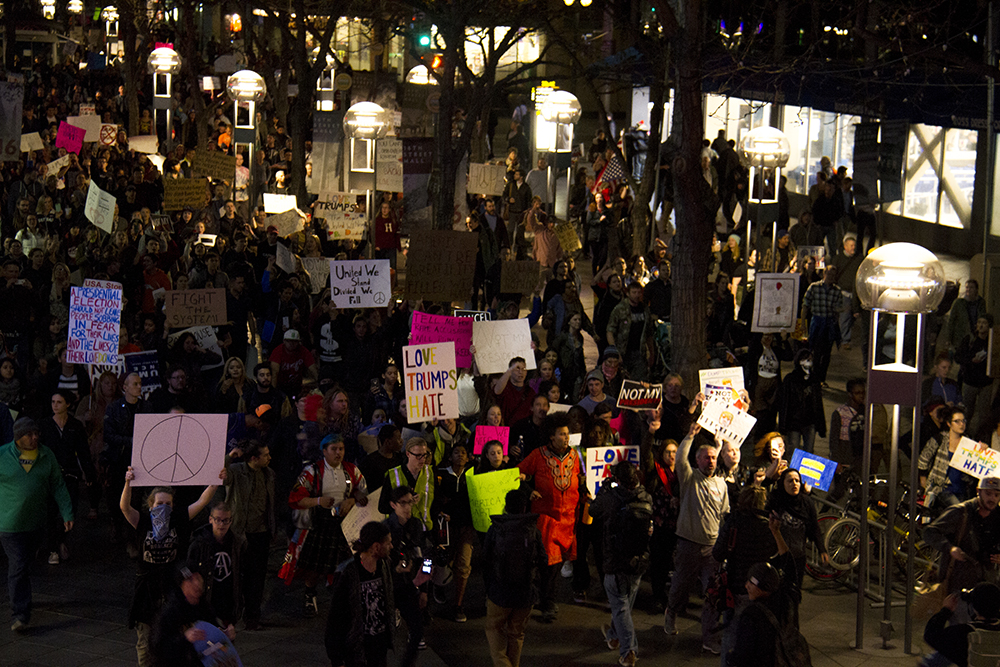 "Protesters led by an activist called ""Phoenix"" fill the 16th Street Mall. An anti-Trump rally. Nov. 11, 2016. (Kevin J. Beaty/Denverite)  politics; protest; denver; denverite; kevinjbeaty; colorado; trump;"