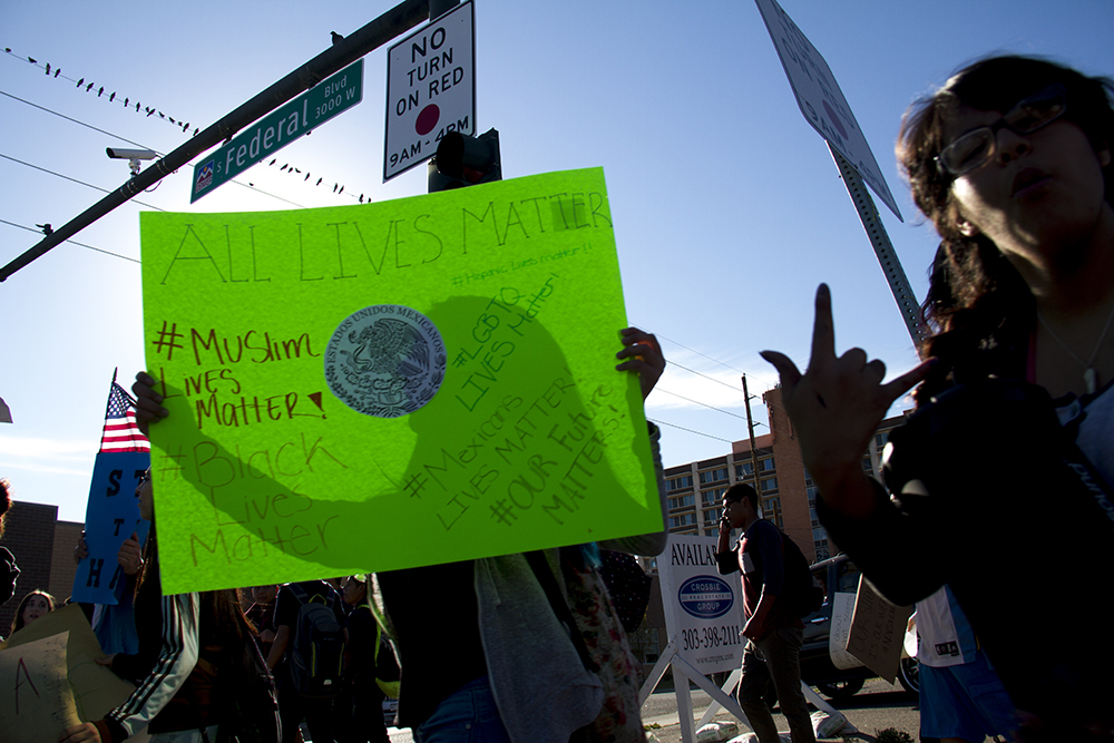 A rally held by high school students in Ruby Hill after a multi-school walk-out. (Kevin J. Beaty/Denverite)  protest; rally; march; students; ruby hill; trump; politics; election; kevinjbeaty; copolitics; denver; denverite; colorado; latino; hispanic;
