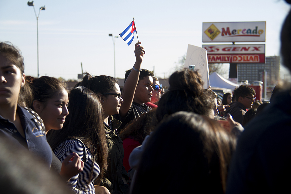 Max Hernandez holds a little Cuban flag at a rally held by high school students in Ruby Hill after a multi-school walk-out. (Kevin J. Beaty/Denverite)  protest; rally; march; students; ruby hill; trump; politics; election; kevinjbeaty; copolitics; denver; denverite; colorado; latino; hispanic;