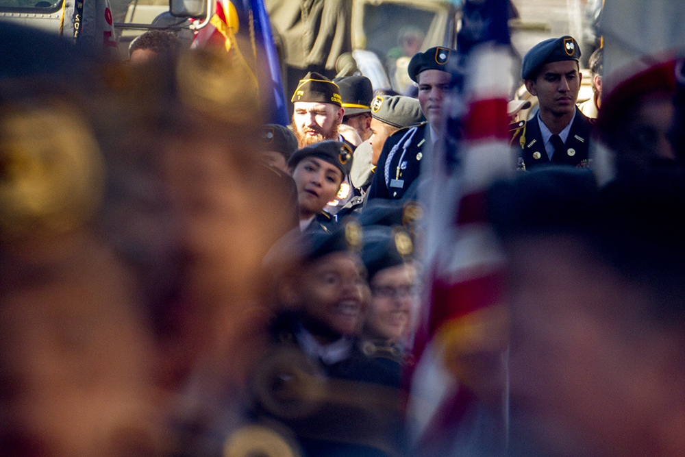 JROTC students stand in formation during the Veterans Day parade at Civic Center Park. Nov. 12, 2016. (Kevin J. Beaty/Denverite)  veterans day; jrotc; military; civic center park; denver; denverite; colorado; kevinjbeaty;