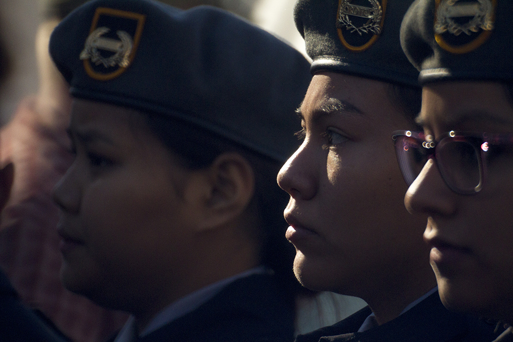 Bianey Delacruz, a George Washington High School sophomore, stands in formation during the Veterans Day parade at Civic Center Park. Nov. 12, 2016. (Kevin J. Beaty/Denverite)  veterans day; jrotc; military; civic center park; denver; denverite; colorado; kevinjbeaty;