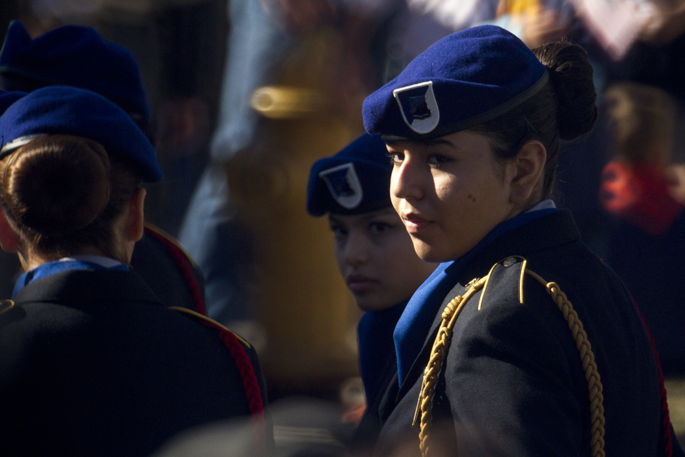 Alonda Miramontes, a Lincoln High School freshman, in line at a Veterans Day parade at Civic Center Park. Nov. 12, 2016. (Kevin J. Beaty/Denverite)  veterans day; jrotc; military; civic center park; denver; denverite; colorado; kevinjbeaty;
