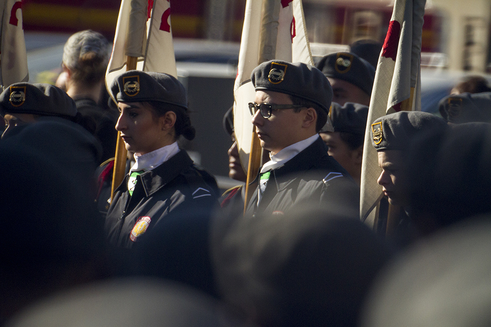JROTC students stand in formation during the Veterans Day parade at Civic Center Park. Nov. 12, 2016. (Kevin J. Beaty/Denverite)