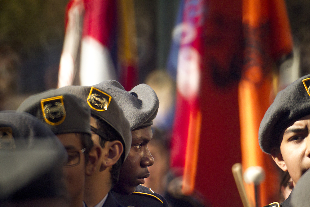North High School freshman Shamond Davis marches in the Veterans Day parade at Civic Center Park. Nov. 12, 2016. (Kevin J. Beaty/Denverite)  veterans day; jrotc; military; civic center park; denver; denverite; colorado; kevinjbeaty;