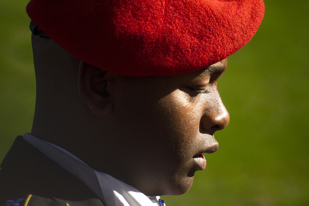 Manual High School senior and student body president Tay Anderson leads JROTC students around Civic Center Park during the annual Veterans Day parade. Nov. 12, 2016. (Kevin J. Beaty/Denverite)  veterans day; jrotc; military; civic center park; denver; denverite; colorado; kevinjbeaty;