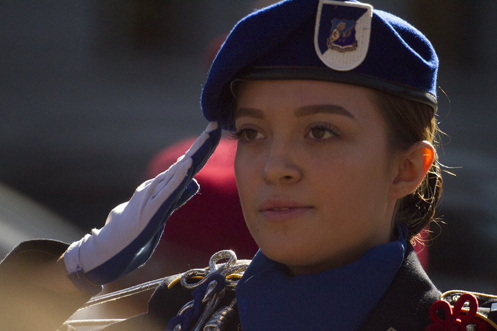 Lincoln High School senior Montse Corona is the leader of more than 200 JROTC students marching in the Veterans Day parade at Civic Center Park on Nov. 12, 2016. (Kevin J. Beaty/Denverite)  veterans day; jrotc; military; civic center park; denver; denverite; colorado; kevinjbeaty;