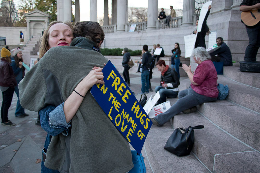 Hundreds gathered in Civic Center Park to support Community for Unity after Thursday's march. (Chloe Aiello/Denverite)