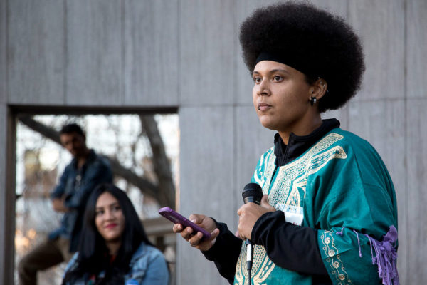 Phoenix addresses hundreds gathered in Civic Center Park to support Community for Unity after Thursday's march. (Chloe Aiello/Denverite)