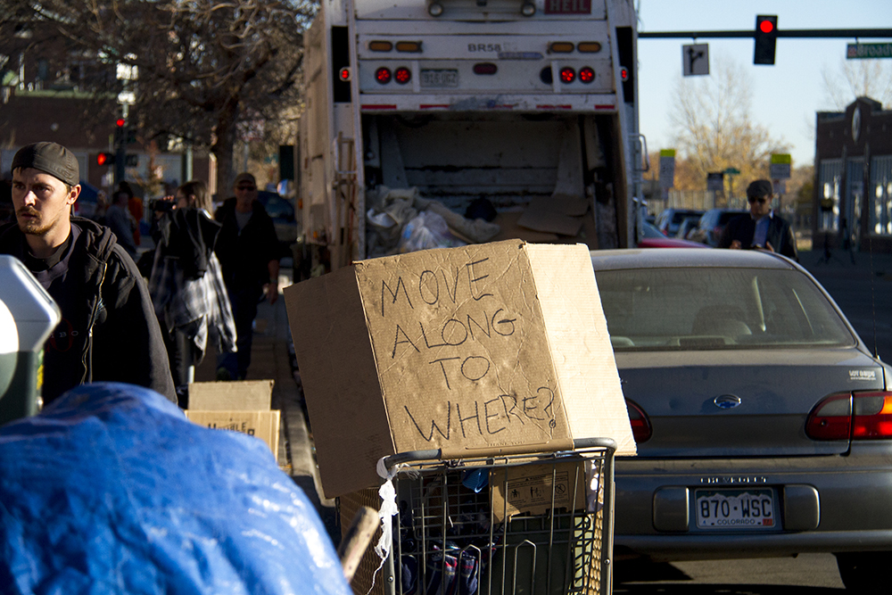 """Homeless sweeps"" on Nov. 15, 2016. (Kevin J. Beaty/Denverite)  homeless; sweeps; denver rescue mission; police; justice; kevinjbeaty; denver; denverite; colorado; camping ban; right to rest;"