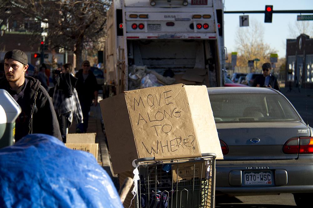 """Homeless sweeps"" on Nov. 15, 2016. (Kevin J. Beaty/Denverite)  homeless; sweeps; denver rescue mission; police; justice; kevinjbeaty; denver; denverite; colorado; camping ban; right to rest;"