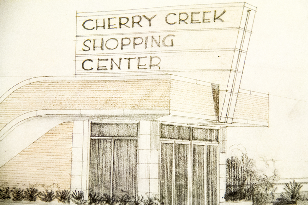 Drawings of the future Cherry Creek Shopping Center by architects Temple Buell and Co. (Denver Public Library/Western History Collection/Temple Hoyne Buell Architectural Records/Temple Hoyne Buell Architectural Records)  architecture; temple buell; denver; colorado; denverite; denver public library;