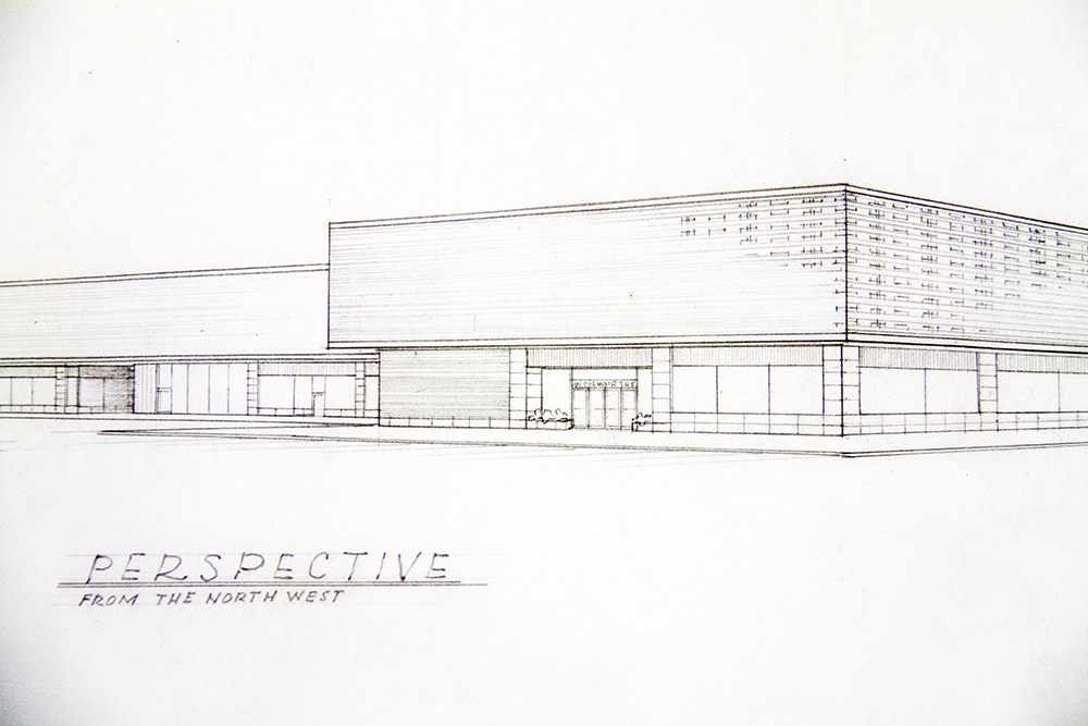 Drawings of the future Cherry Creek Shopping Center by architects Temple Buell and Co. (Denver Public Library/Western History Collection/Temple Hoyne Buell Architectural Records)  architecture; temple buell; denver; colorado; denverite; denver public library;