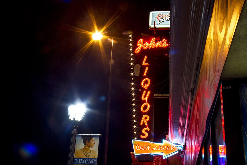John's Liquors, Colfax and Williams. (Kevin J. Beaty/Denverite)  colfax; neon; night; denver; colorado; kevinjbeaty; denverite;