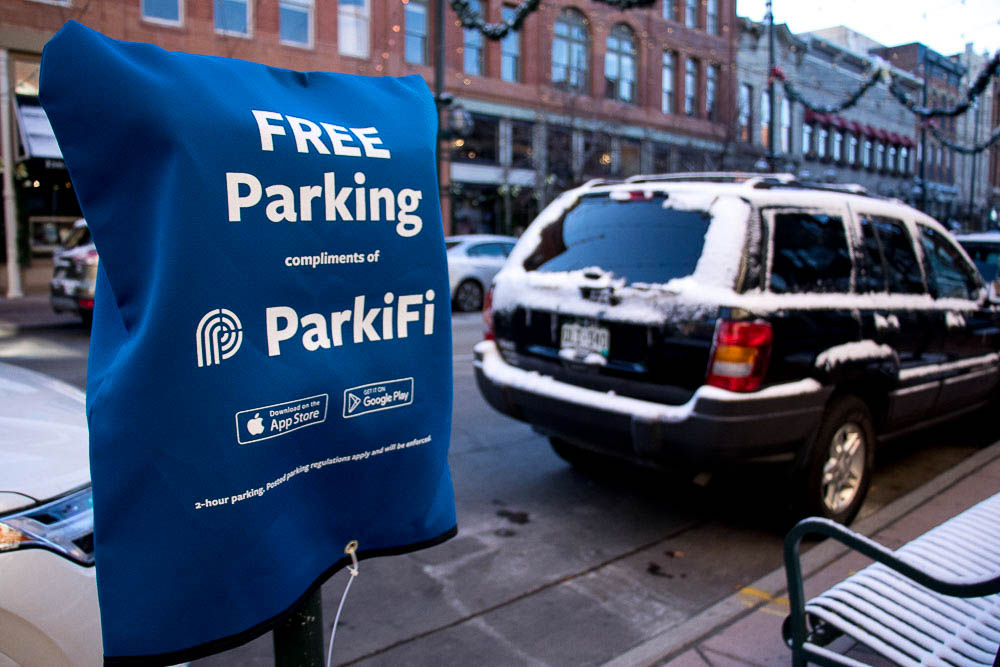 ParkiFi launched at their new location in Larimer Square by offering free parking. (Chloe Aiello/Denverite)