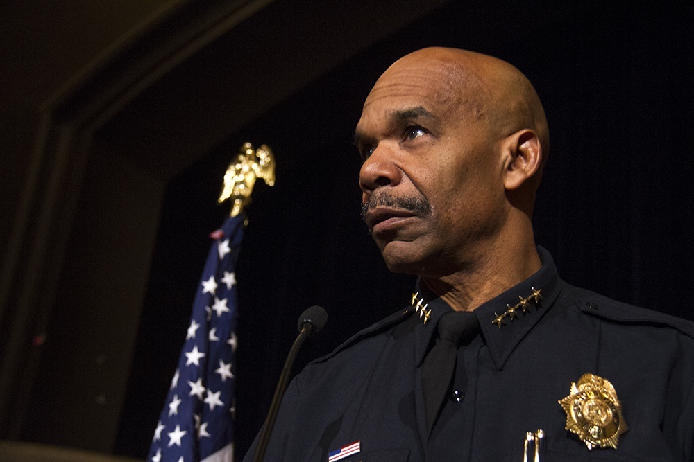 Denver Police Department's Chief Robert White at Mayor Michael Hancock's Cabinet in the Community event. Nov. 19, 2016. (Kevin J. Beaty/Denverite)