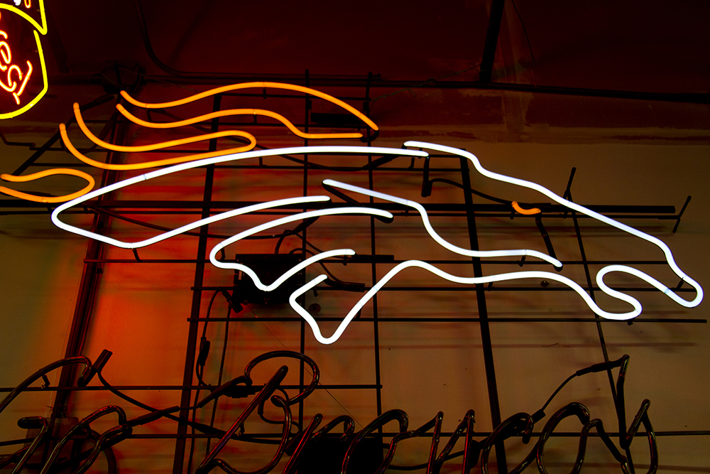 (Kevin J. Beaty/Denverite)  broncos; neon; denver; colorado; kevinjbeaty; denverite