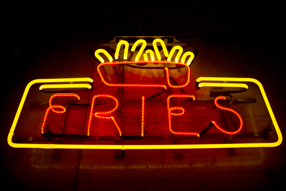 """Fries."" Morry's Neon. (Kevin J. Beaty/Denverite)  neon; denver; colorado; kevinjbeaty; denverite"