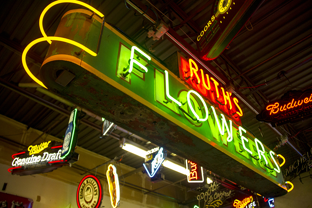 A Ruth's Flowers sign fabricated by Morry Weseloh. (Kevin J. Beaty/Denverite)  neon; denver; colorado; kevinjbeaty; denverite